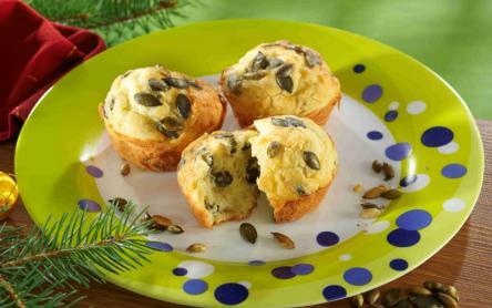 Sajtos-tökmagos muffin
